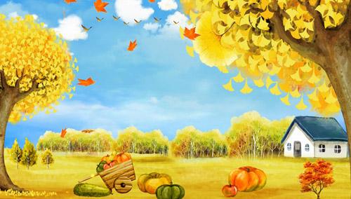秋天丰收简笔画带颜色